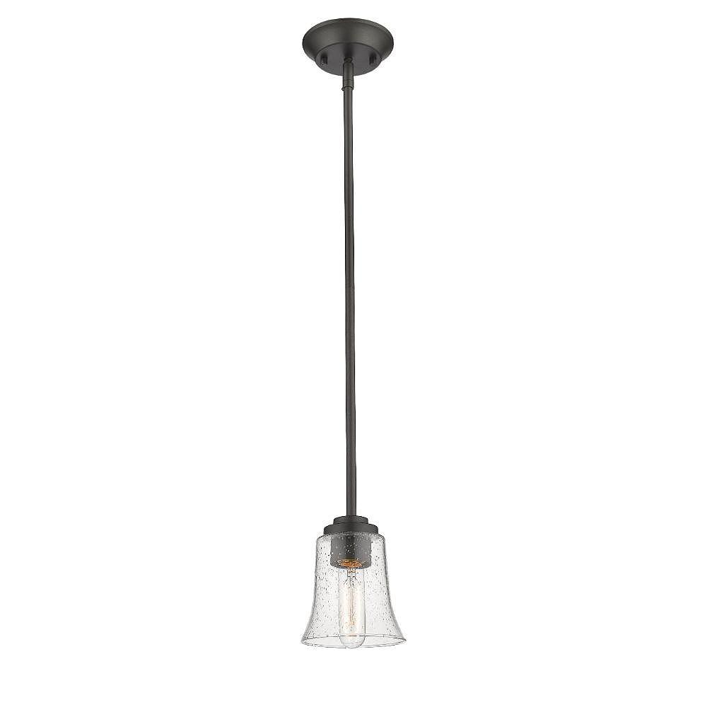 Filament Design Mini luminaire suspendu bronze à 1 ampoule avec verre à gouttes transparent