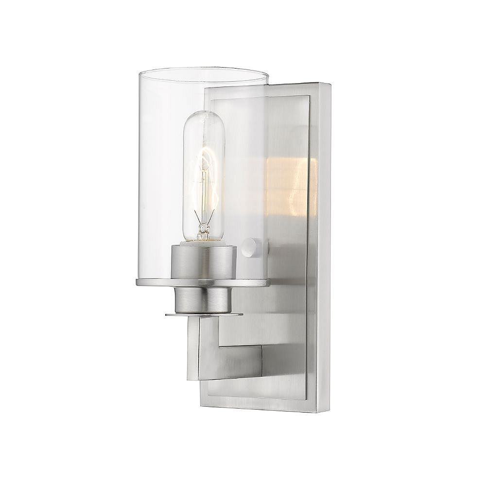 Filament Design 1-Light Brushed Nickel Wall Sconce with Clear Glass - 5.5 inch