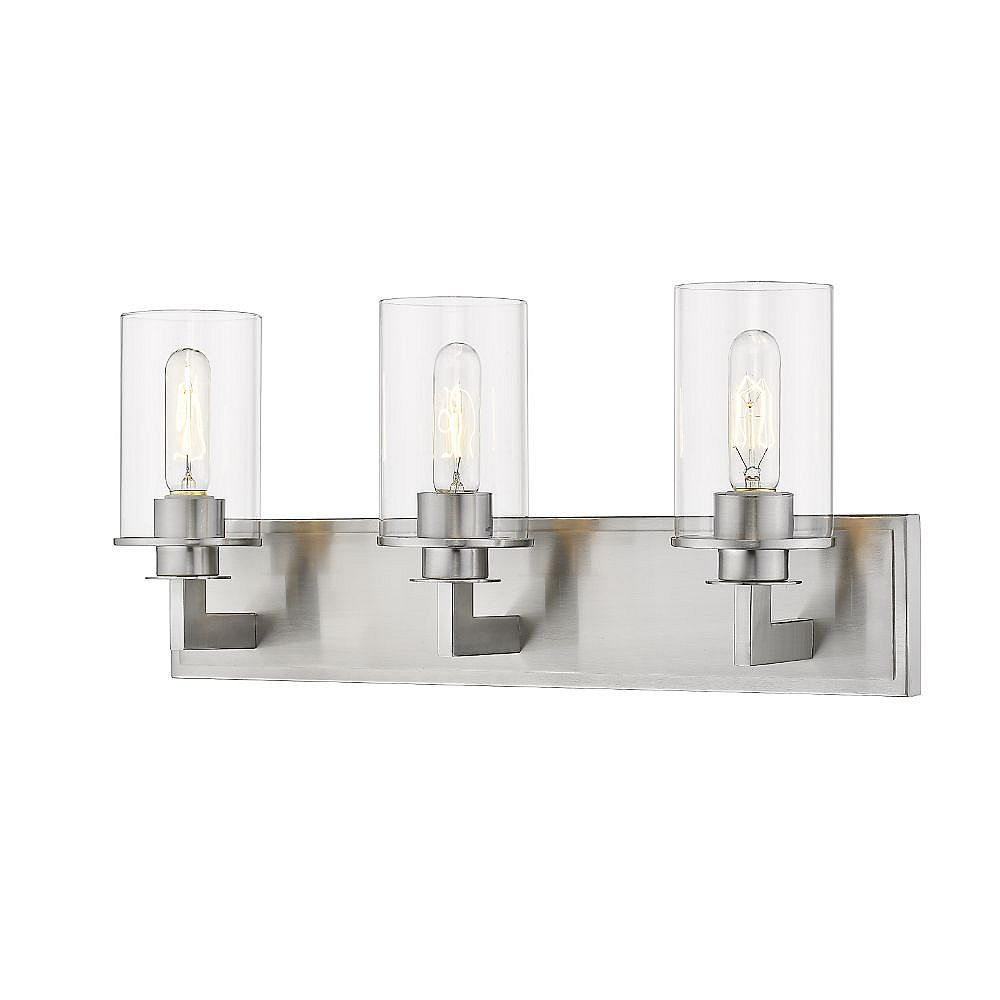 Filament Design 3-Light Brushed Nickel Vanity with Clear Glass - 5.5 inch