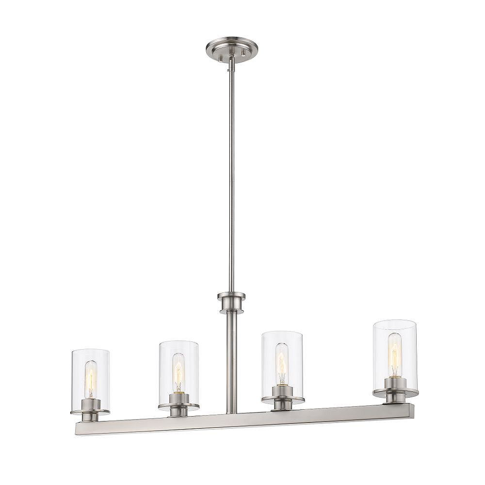 Filament Design 4-Light Brushed Nickel Billiard with Clear Glass