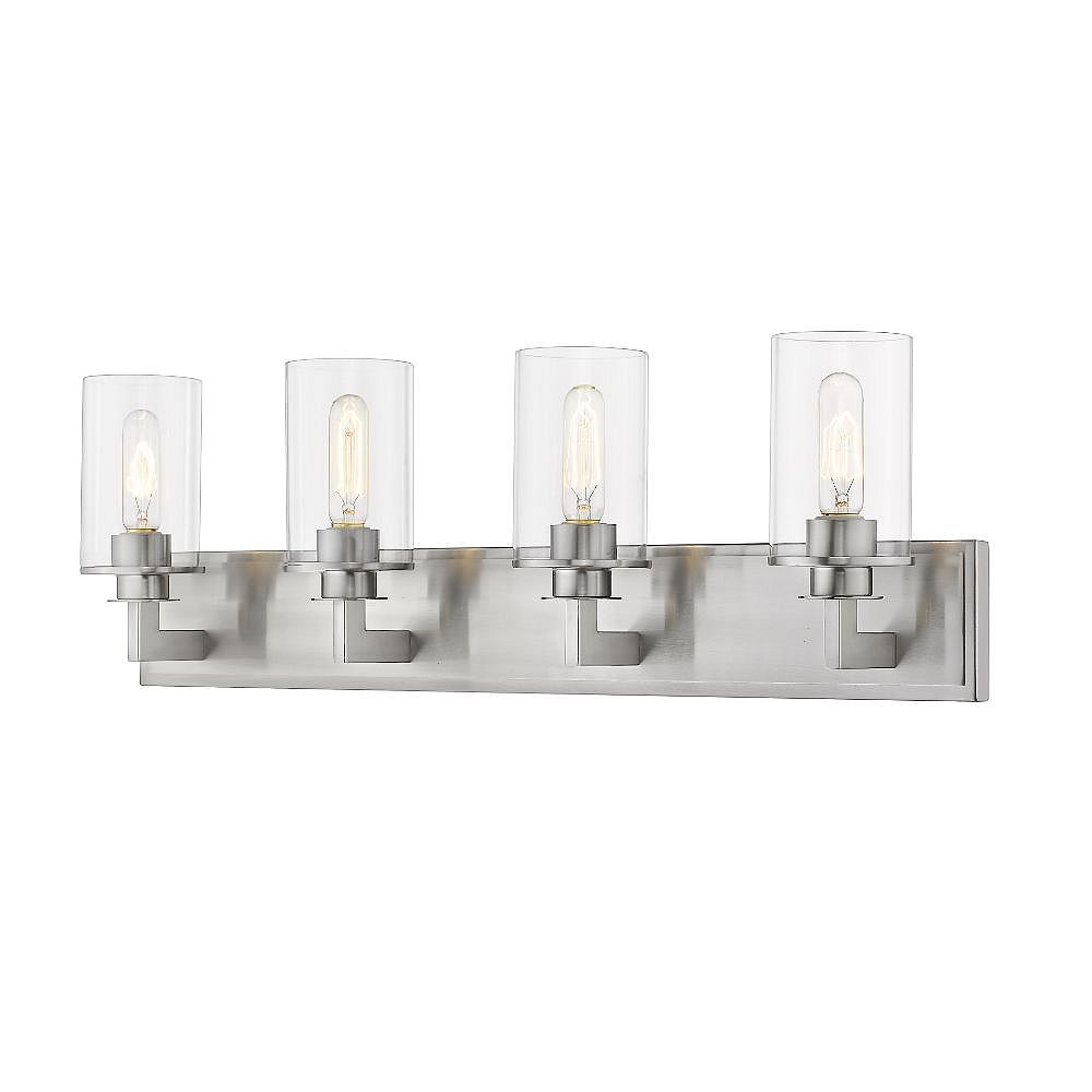 Filament Design 4-Light Brushed Nickel Vanity with Clear Glass - 5.5 inch