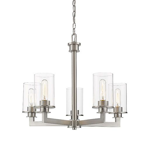 Filament Design 5-Light Brushed Nickel Chandelier with Clear Glass - 22 inches