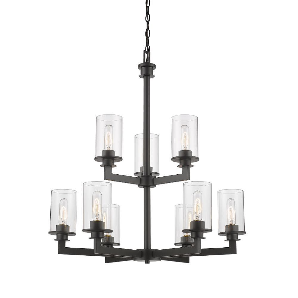 Filament Design 9-Light Bronze Chandelier with Clear Glass - 29 inch