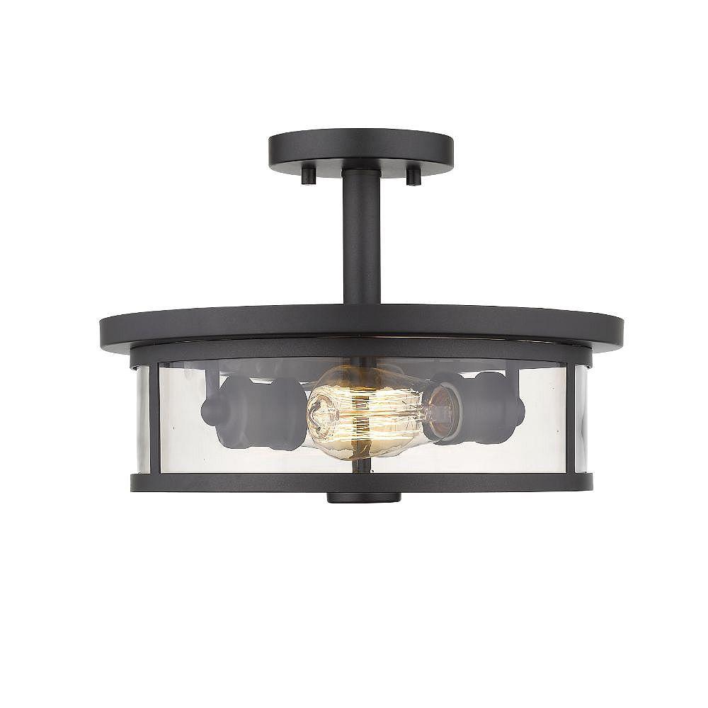 Filament Design 2-Light Bronze Semi Flush Mount with Clear Glass