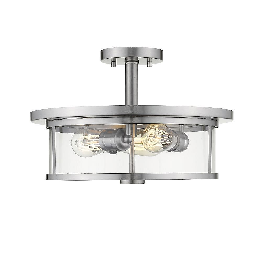 Filament Design Semi-encastré à 3 ampoules, nickel brossé - 11 pouces