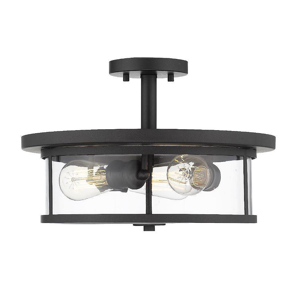 Filament Design 3-Light Brushed Nickel Semi Flush Mount with Clear Glass - 11 inches