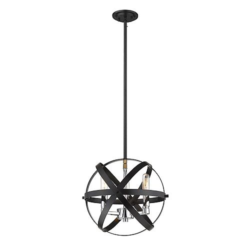 Filament Design 3-Light Hammered Black And Chrome Pendant