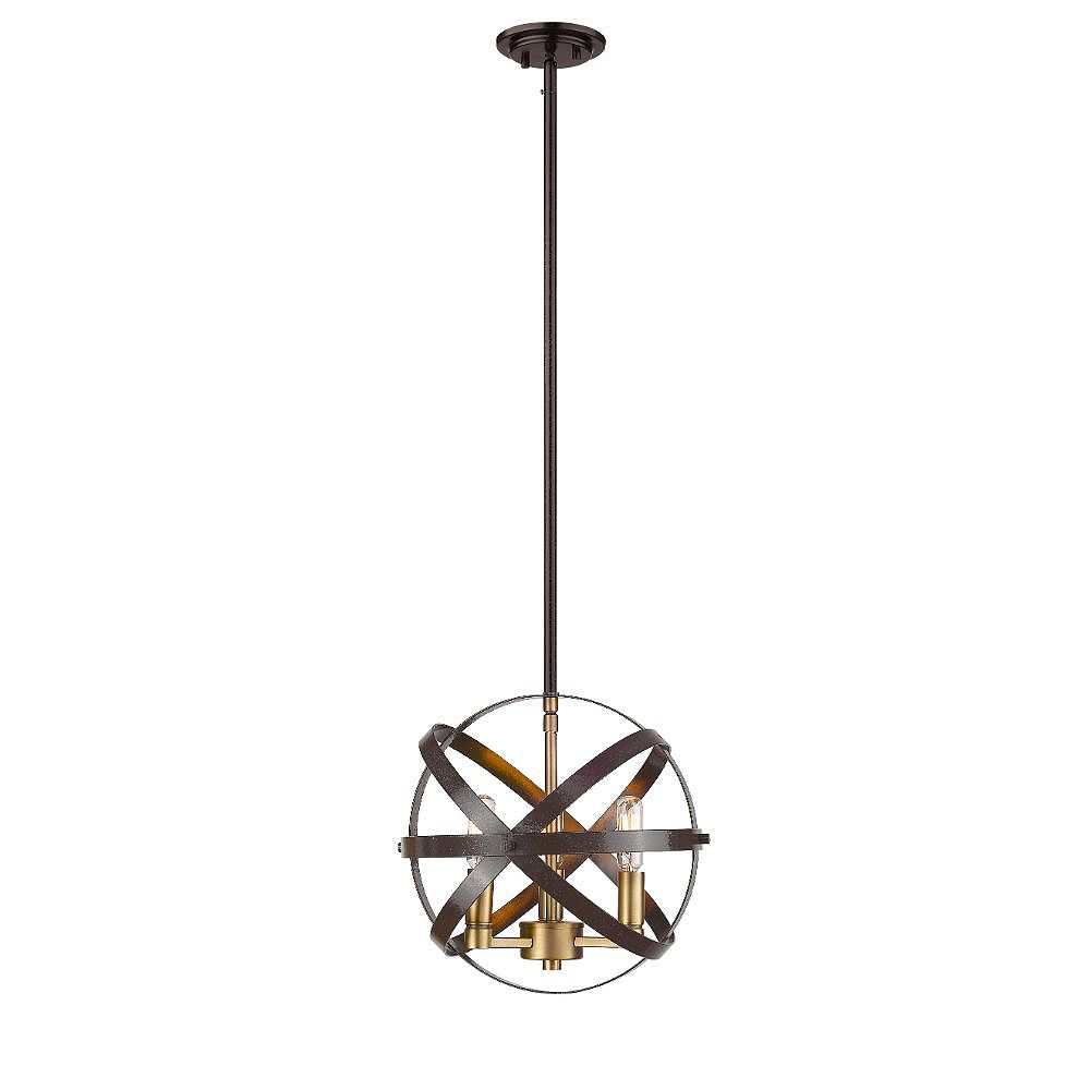 Filament Design 3-Light Hammered Bronze And Olde Brass Pendant