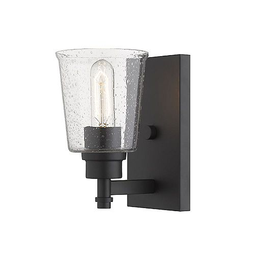 Filament Design 1-Light Matte Black Wall Sconce with Clear Seedy Glass