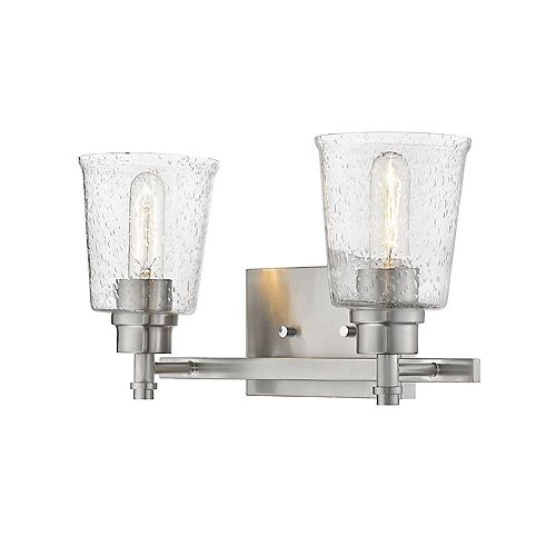 Filament Design 2-Light Brushed Nickel Vanity with Clear Seedy Glass - 8.5 inches