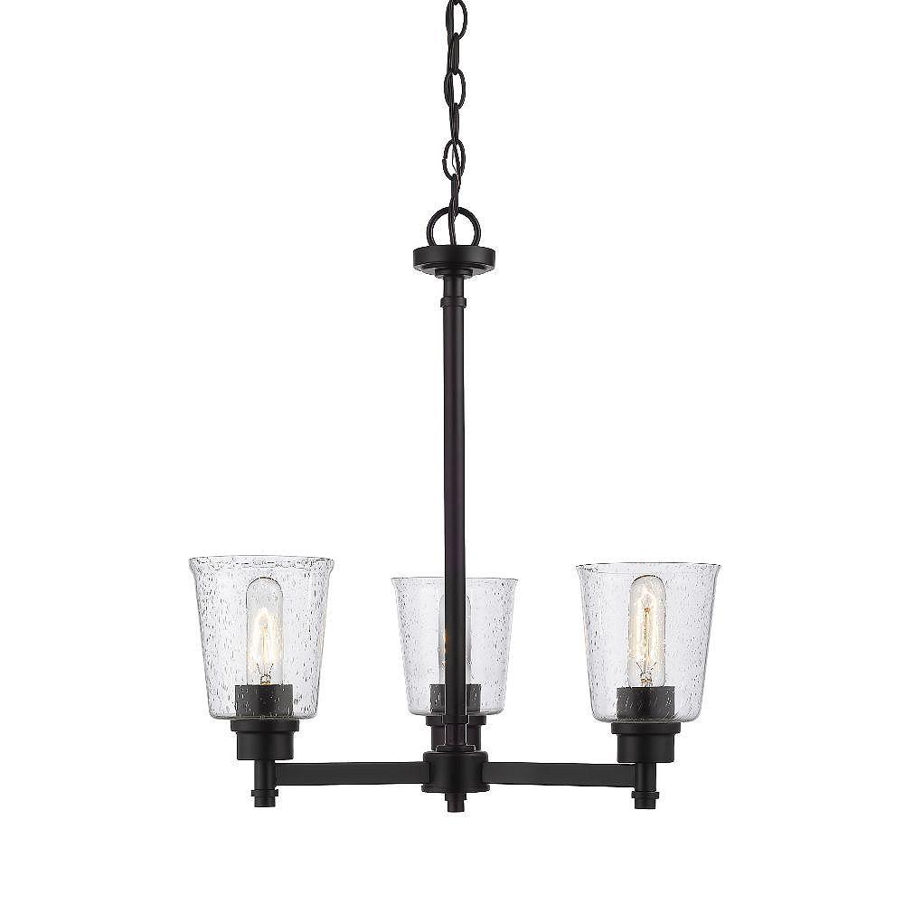 Filament Design 3-Light Matte Black Chandelier with Clear Seedy Glass