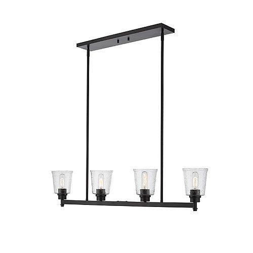 Billard noir mat à 4 ampoules avec verre à gouttes transparent