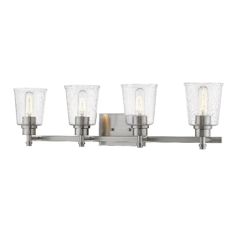 Filament Design Meuble-lavabo à 4 ampoules au fini nickel brossé avec verre à gouttes transparent - 8,5 pouces