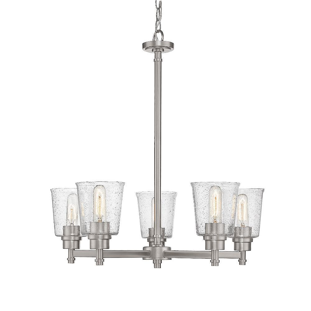 Filament Design 5-Light Brushed Nickel Chandelier with Clear Seedy Glass - 26.5 inch