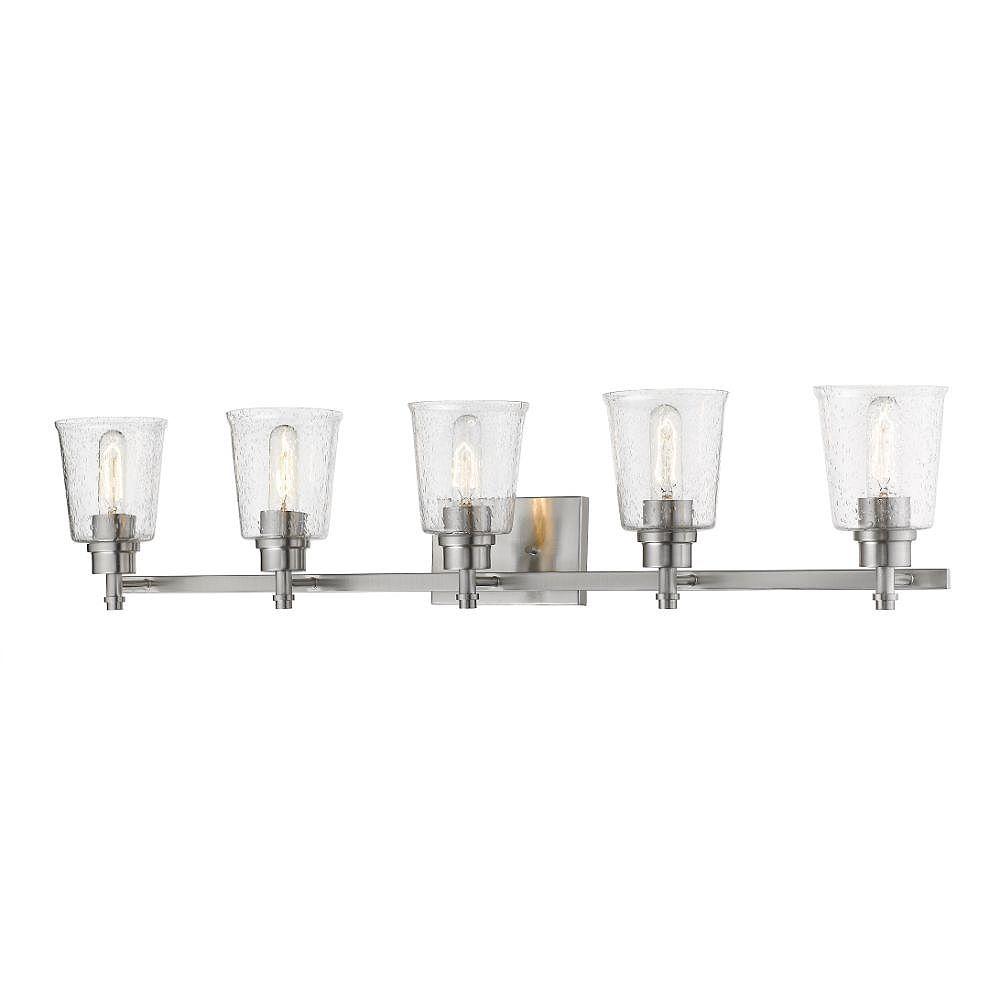 Filament Design Meuble-lavabo à 5 ampoules en nickel brossé avec verre à gouttes transparent - 6,5 pouces
