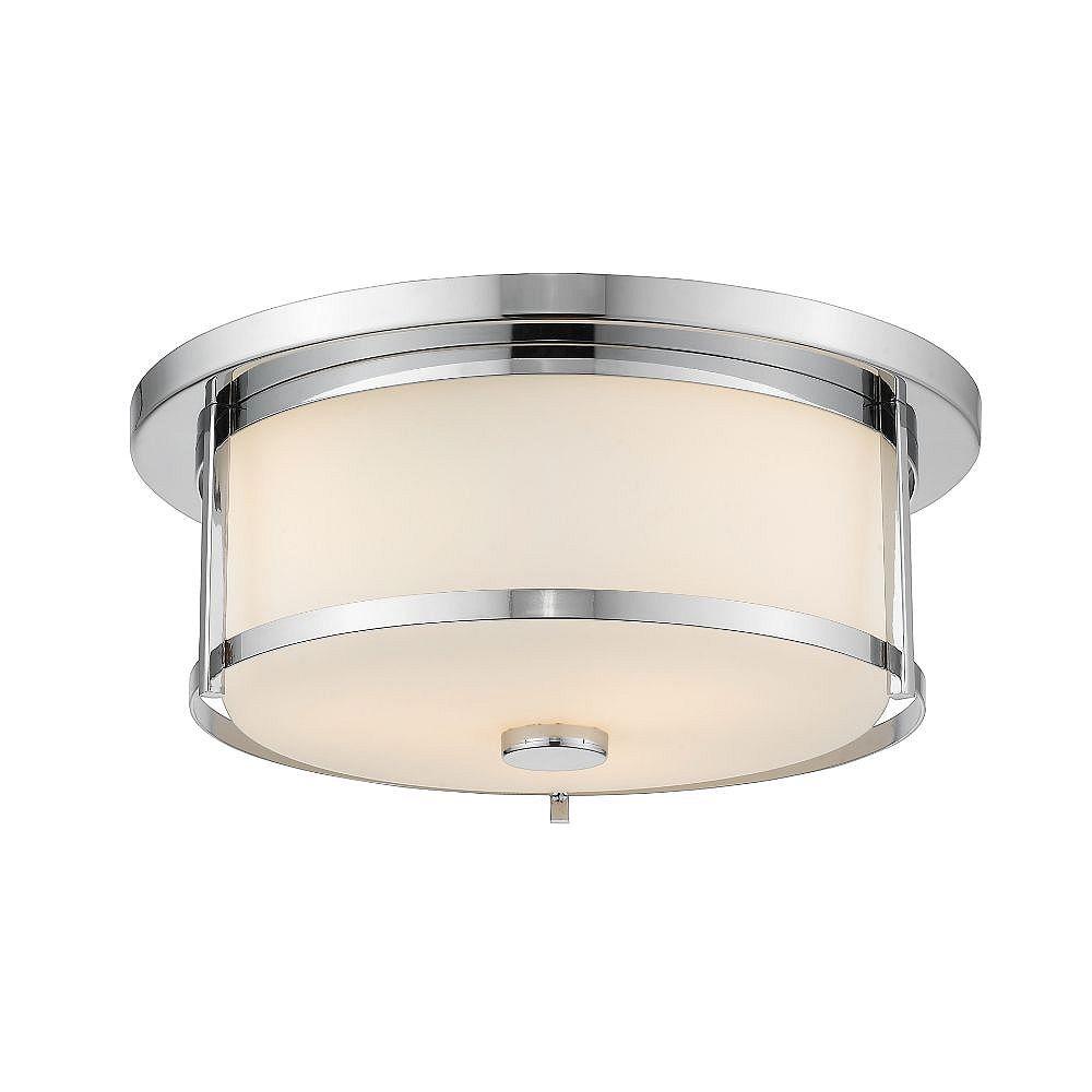 Filament Design 2-Light Chrome Flush Mount with Matte Opal Glass