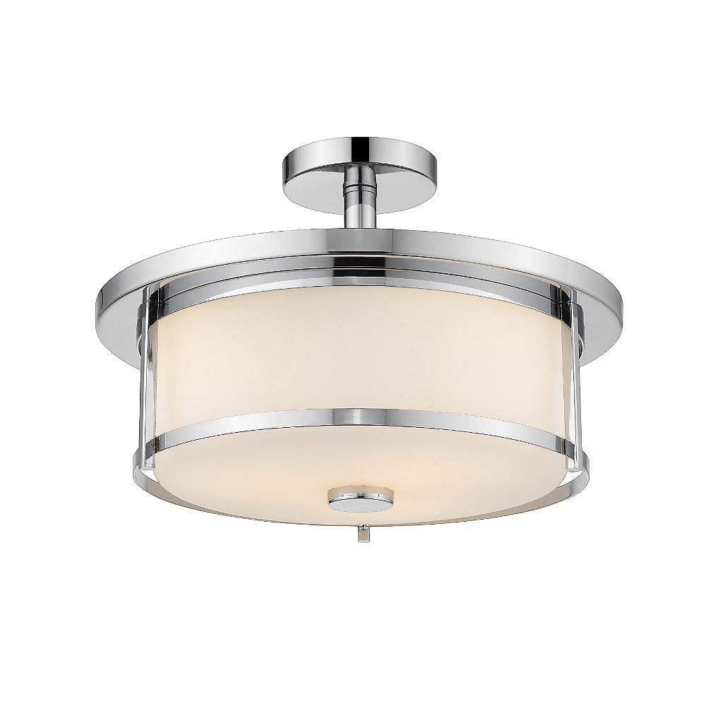 Filament Design 3-Light Chrome Semi Flush Mount with Matte Opal Glass