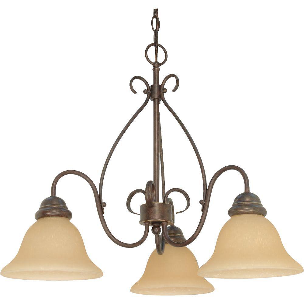 Filament Design Lustre à 3 ampoules bronze et champagne Sonoma