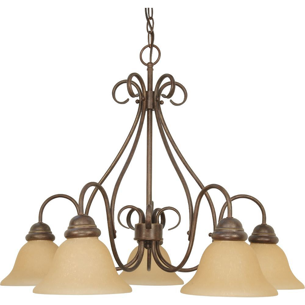 Filament Design 5-Light Sonoma Bronze and Champagne Chandelier - 21 inch