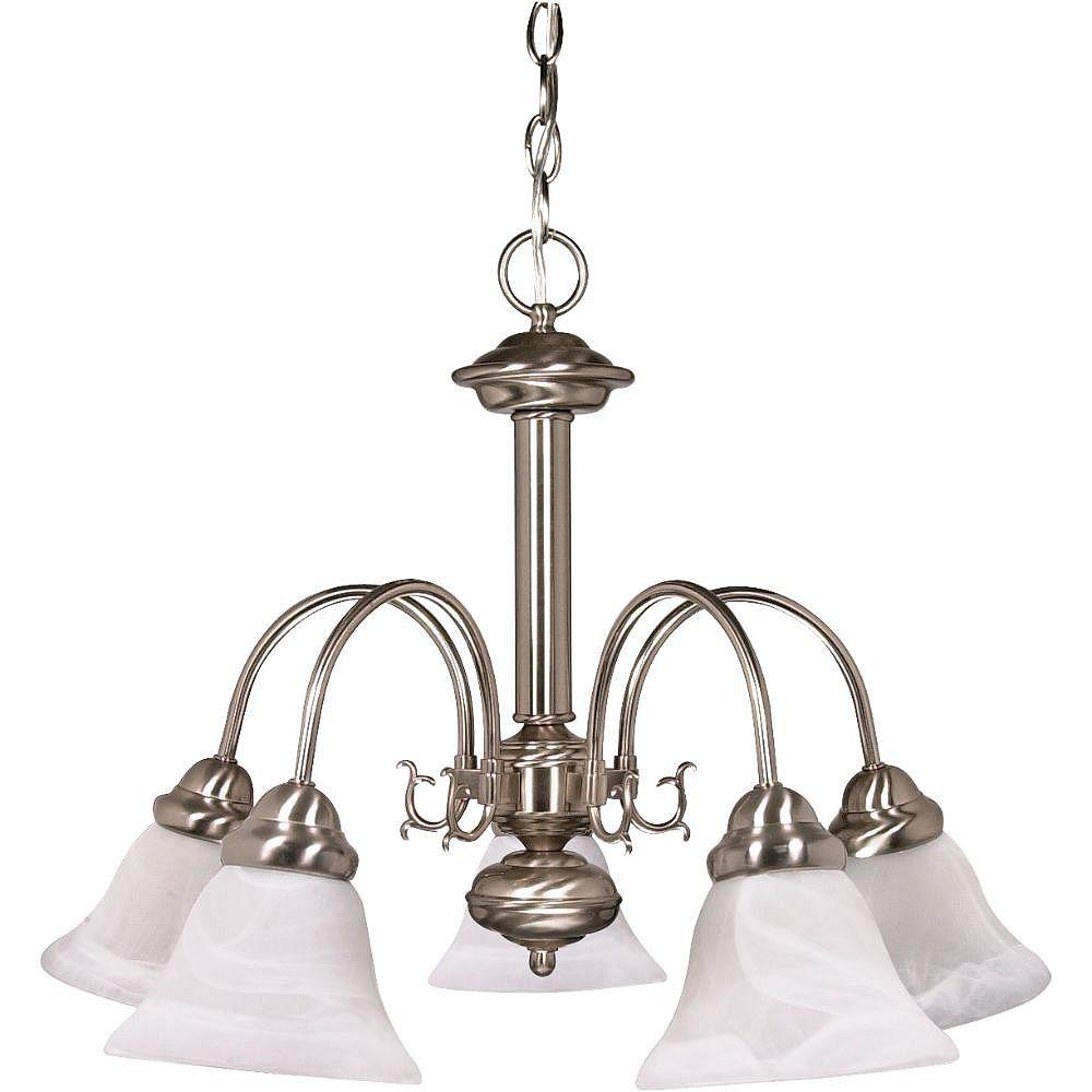 Filament Design Lustre à 5 ampoules en nickel brossé avec verre albâtre - 18 pouces