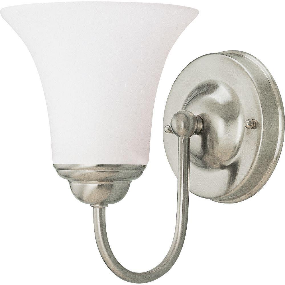 Filament Design 1-Light Brushed Nickel Bath Vanity Light with Satin White Shade