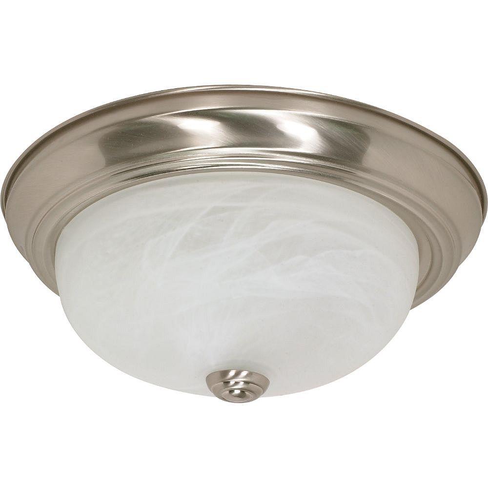 Filament Design Plafonnier à 2 ampoules au fini nickel brossé avec verre albâtre - 13,25 pouces