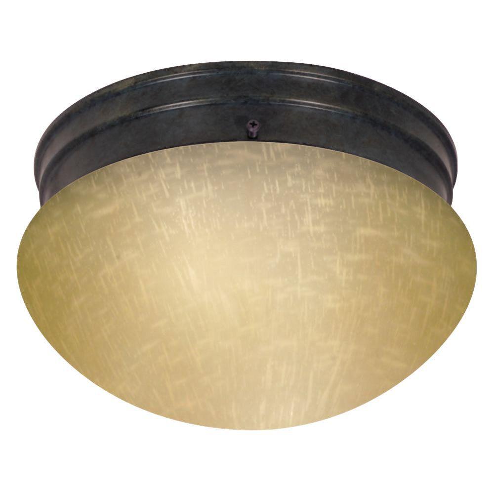 Filament Design Plafonnier à 2 ampoules en bronze acajou avec abat-jour champagne