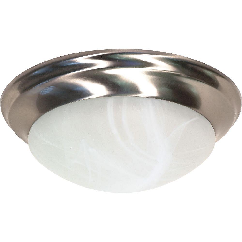 Filament Design 2-Light Brushed Nickel Flush Mount with Alabaster Glass