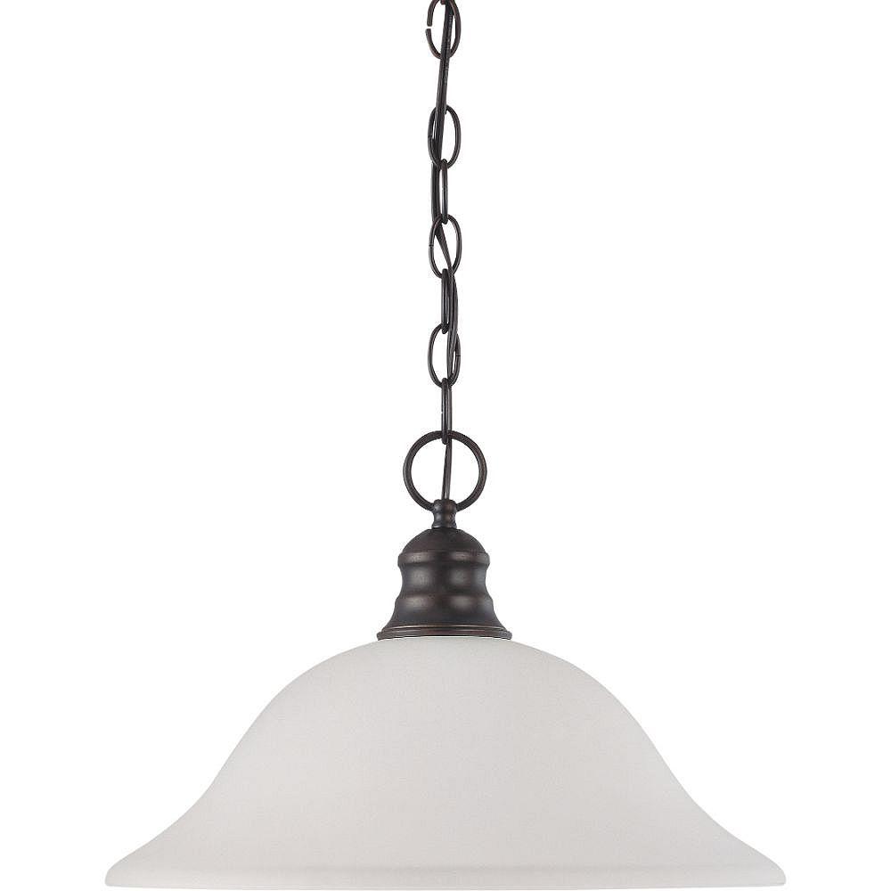 Filament Design Luminaire suspendu à 1 ampoule en bronze acajou et abat-jour givré