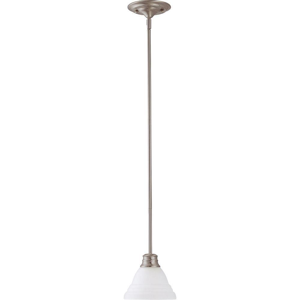 Filament Design Luminaire suspendu à 1 ampoule en nickel brossé avec verre givré - 16 pouces