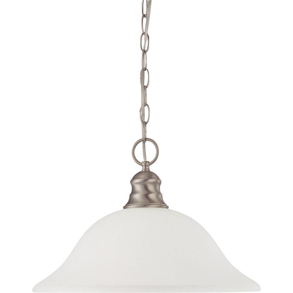 Filament Design Luminaire suspendu à 1 ampoule en nickel brossé avec verre givré
