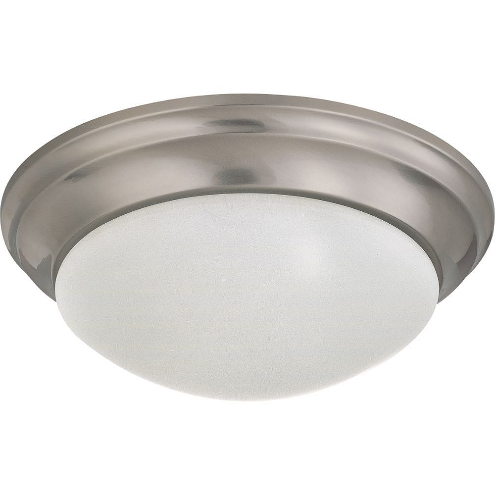 Filament Design 2-Light Brushed Nickel Flush Mount with Frosted Glass - 14 inches