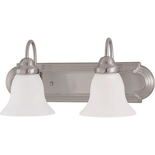 Filament Design Meuble-lavabo à 2 ampoules au fini nickel brossé avec verre givré