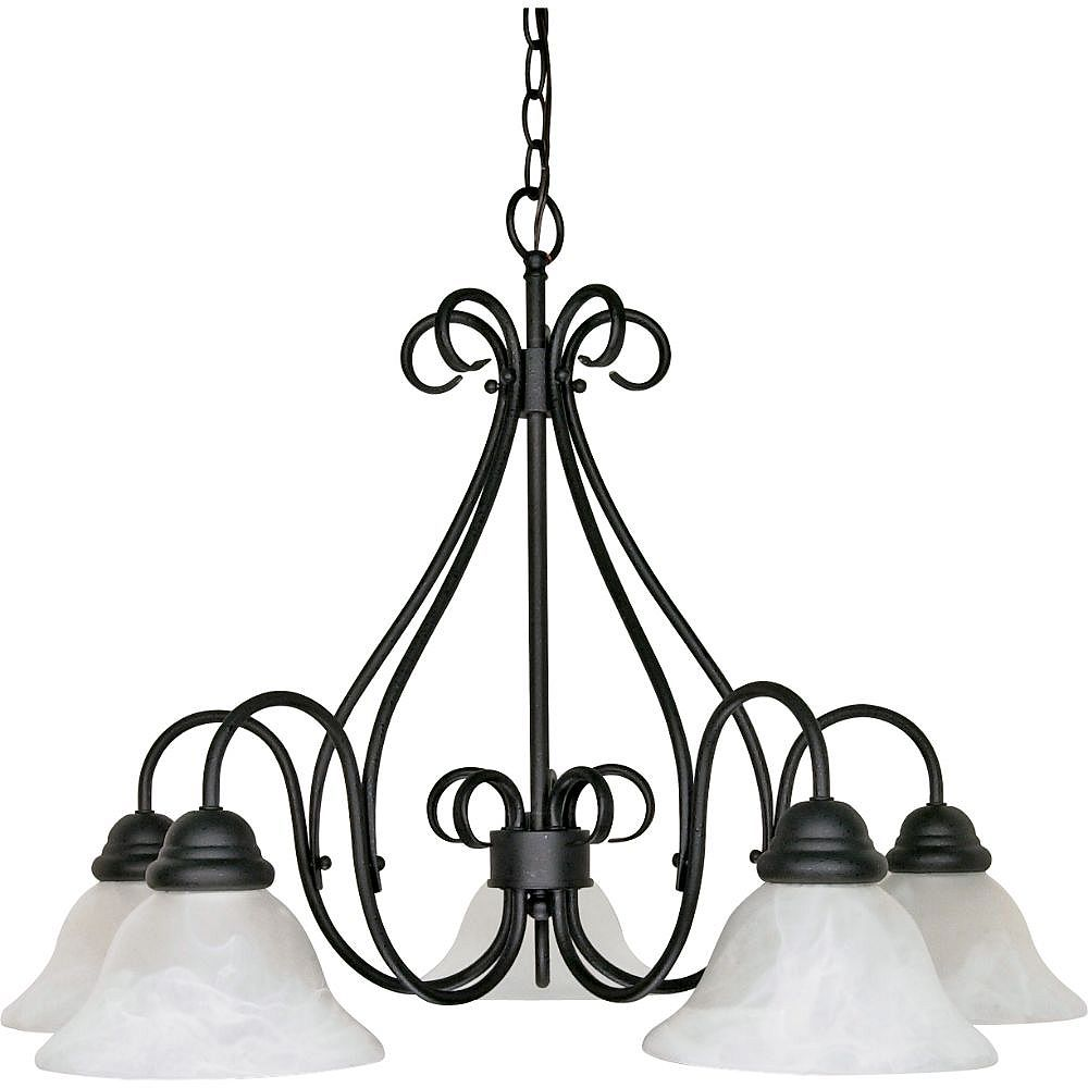 Filament Design 5-Light Textured Black Chandelier with Alabaster Swirl Glass - 21 inch