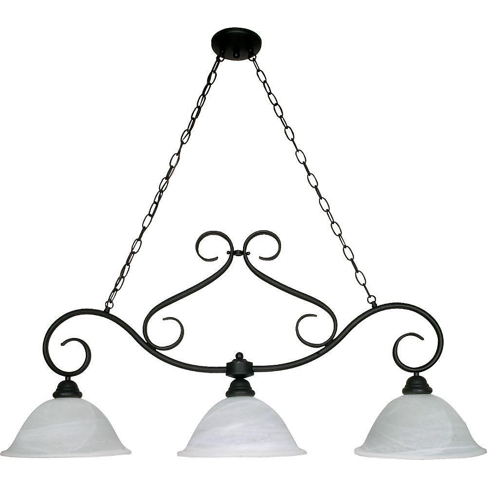 Filament Design 3-Light Textured Black Chandelier - 44 inch