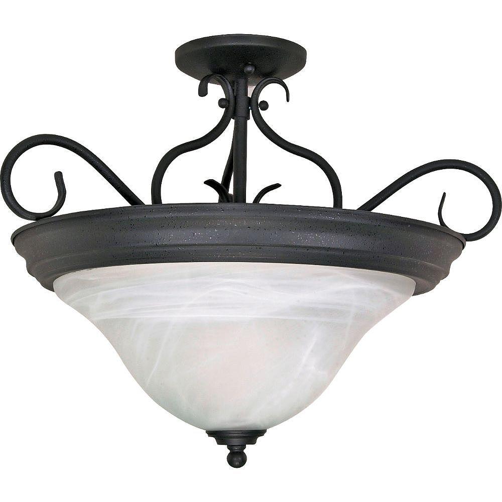 Filament Design Semi-plafonnier noir texturé à 3 ampoules - 15,5 pouces