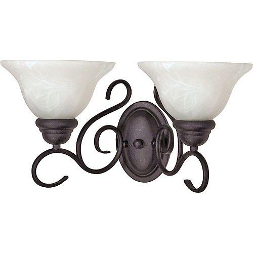 Applique murale noire texturée à 2 ampoules