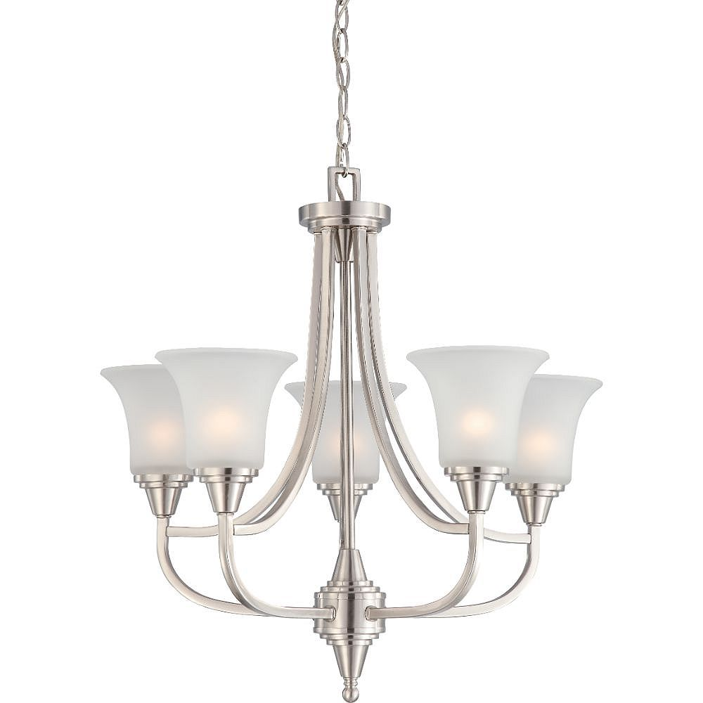 Filament Design 5-Light Brushed Nickel Chandelier with Frosted Glass