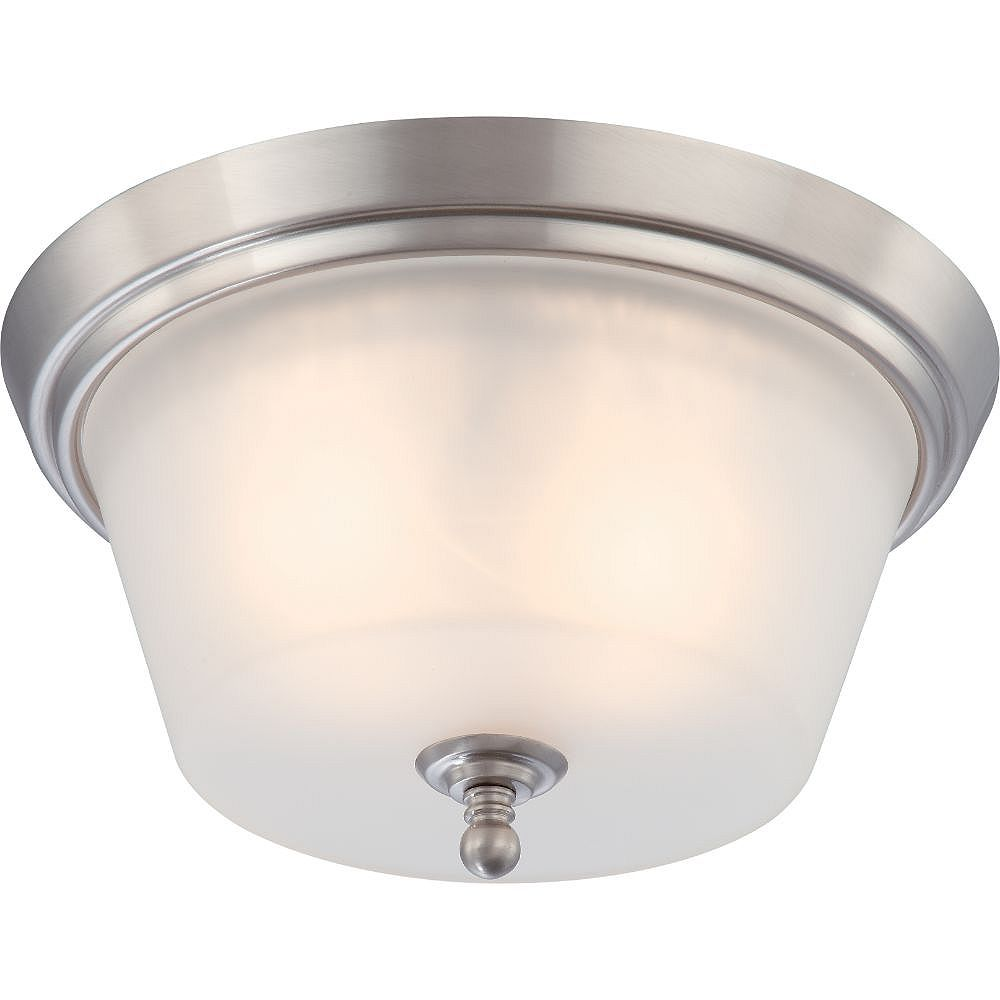 Filament Design 2-Light Brushed Nickel Flush Mount with Frosted Glass
