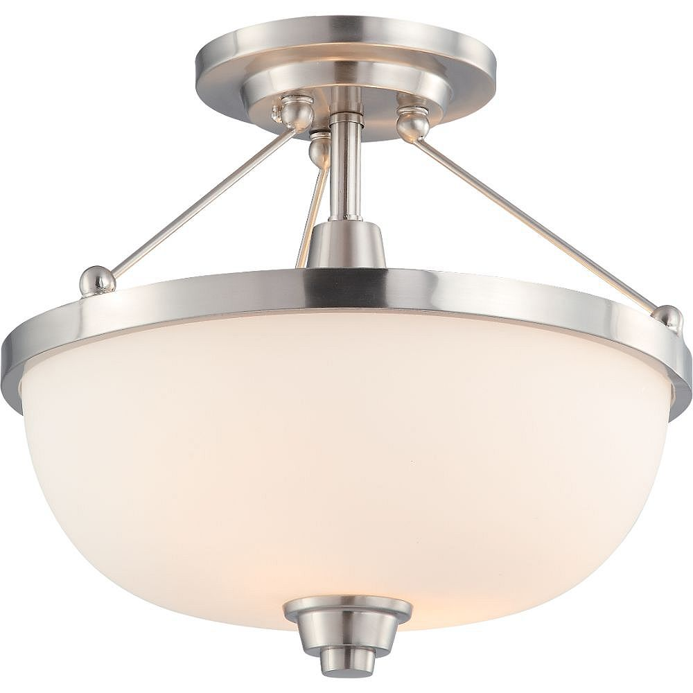 Filament Design 2-Light Brushed Nickel Semi-Flush Mount with Satin White Shade