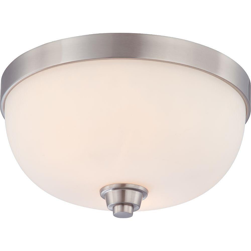 Filament Design Plafonnier à 2 ampoules au fini nickel brossé avec abat-jour blanc satiné