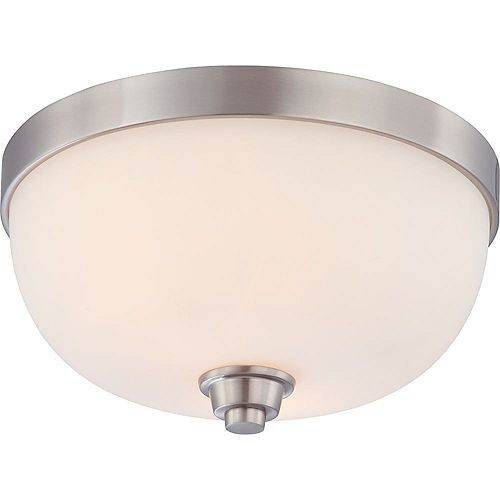 Filament Design 2-Light Brushed Nickel Flush Mount with Satin White Shade