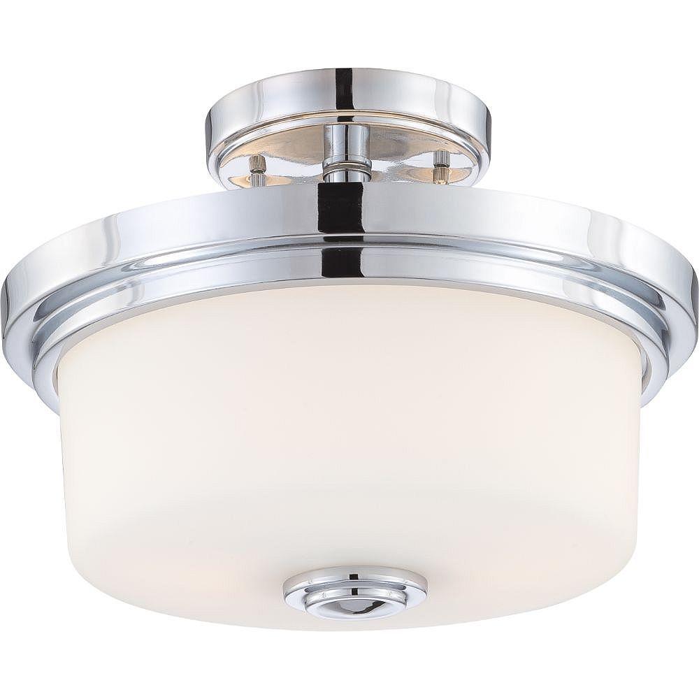 Filament Design Semi-plafonnier à 2 ampoules au fini chrome poli et blanc satiné - 10,13 pouces