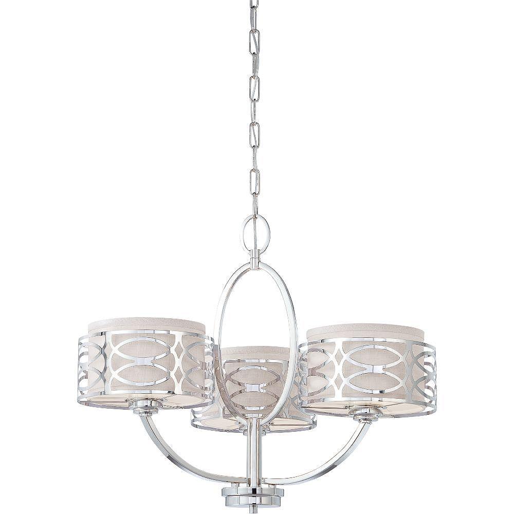 Filament Design Lustre à 3 ampoules en nickel poli - 20,38 pouces