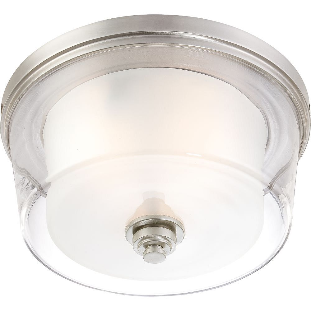Filament Design 3-Light Brushed Nickel Flush Mount with Frosted Glass