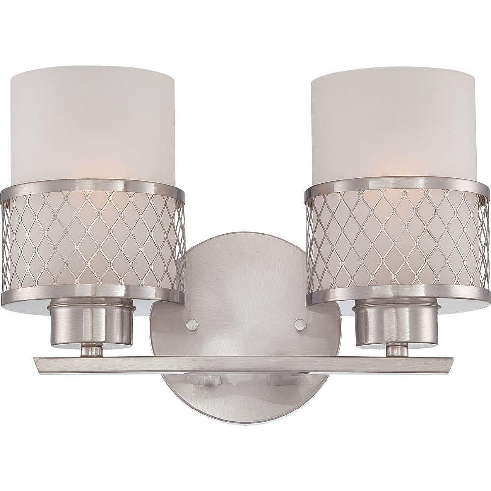 Filament Design 2-Light Brushed Nickel Bath Vanity Light - 12 inch