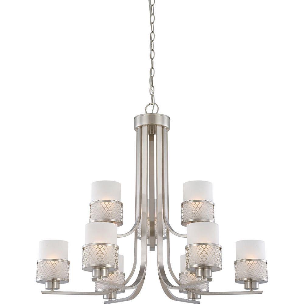 Filament Design Lustre à 9 ampoules en nickel brossé - 27,5 pouces