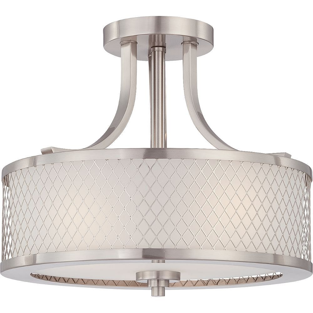 Filament Design 3-Light Brushed Nickel and Frosted Semi-Flush Mount