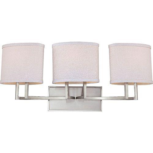 Filament Design Applique de salle de bain à 3 ampoules au fini nickel brossé - 27,25 pouces