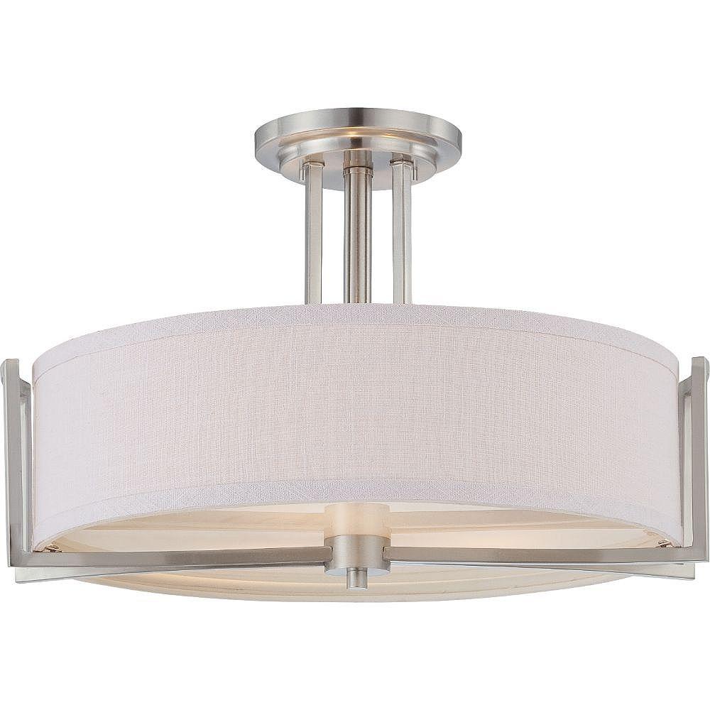 Filament Design Semi-plafonnier à 3 ampoules au nickel brossé - 12,25 pouces
